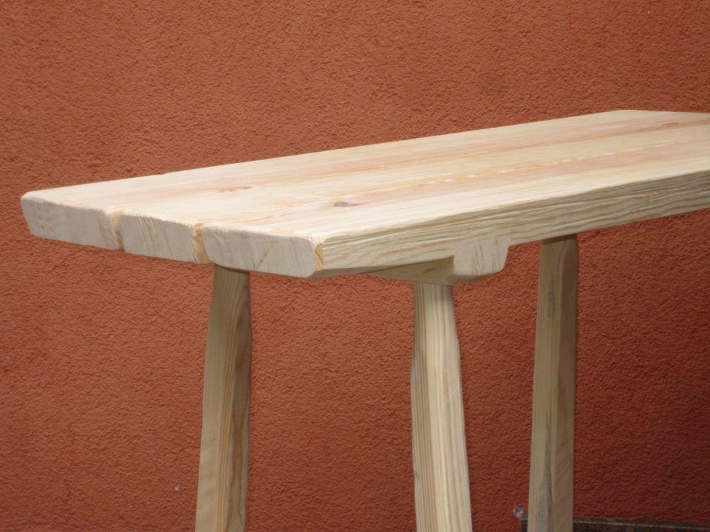 schwerer holz tisch mit geteilter platte 120x75 m rkische kief spiel holz. Black Bedroom Furniture Sets. Home Design Ideas